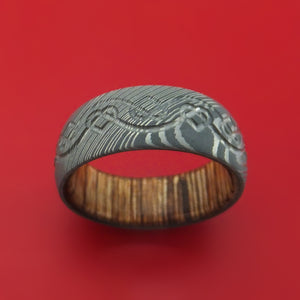 Damascus Steel Ring with Milled Celtic Heart Design and Interior Hardwood Sleeve Custom Made Band