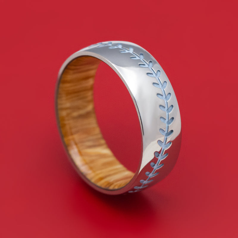 Titanium Baseball Stitch Ring with Hardwood Sleeve Custom Designed by You