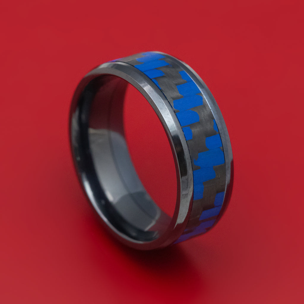 Black Titanium and Blue Carbon Fiber Mens Band