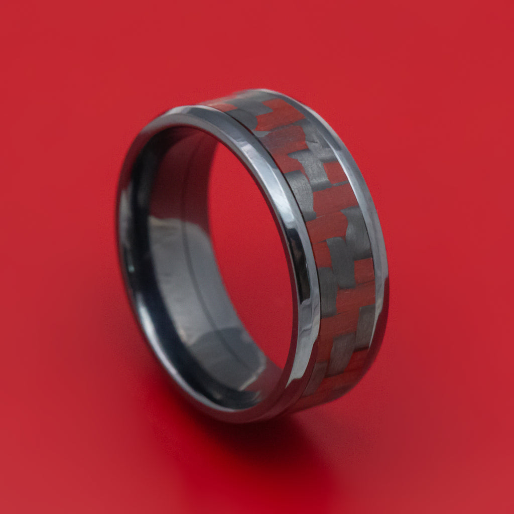 Black Titanium and Red Carbon Fiber Mens Ring
