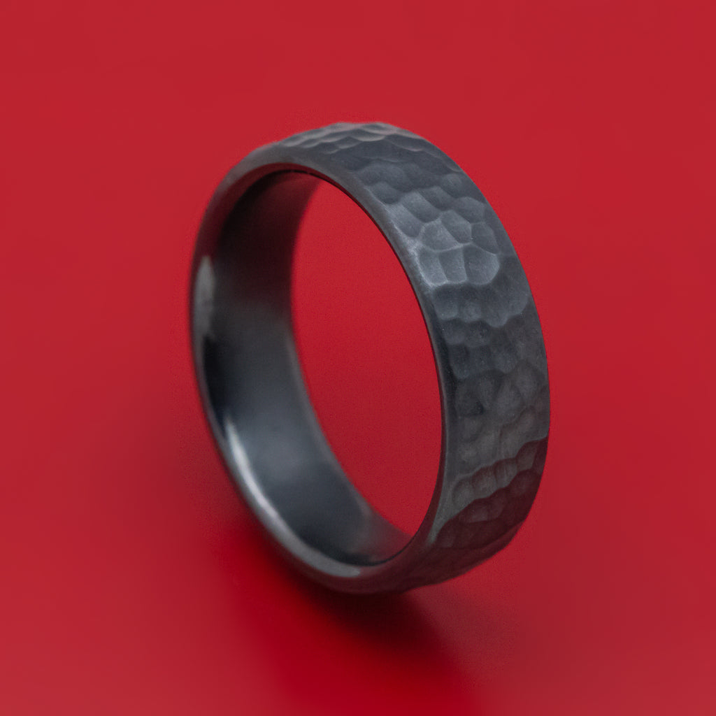Hammered Black Titanium Mens Ring