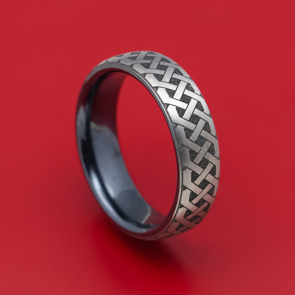 Black Titanium Celtic Love Knot Mens Ring