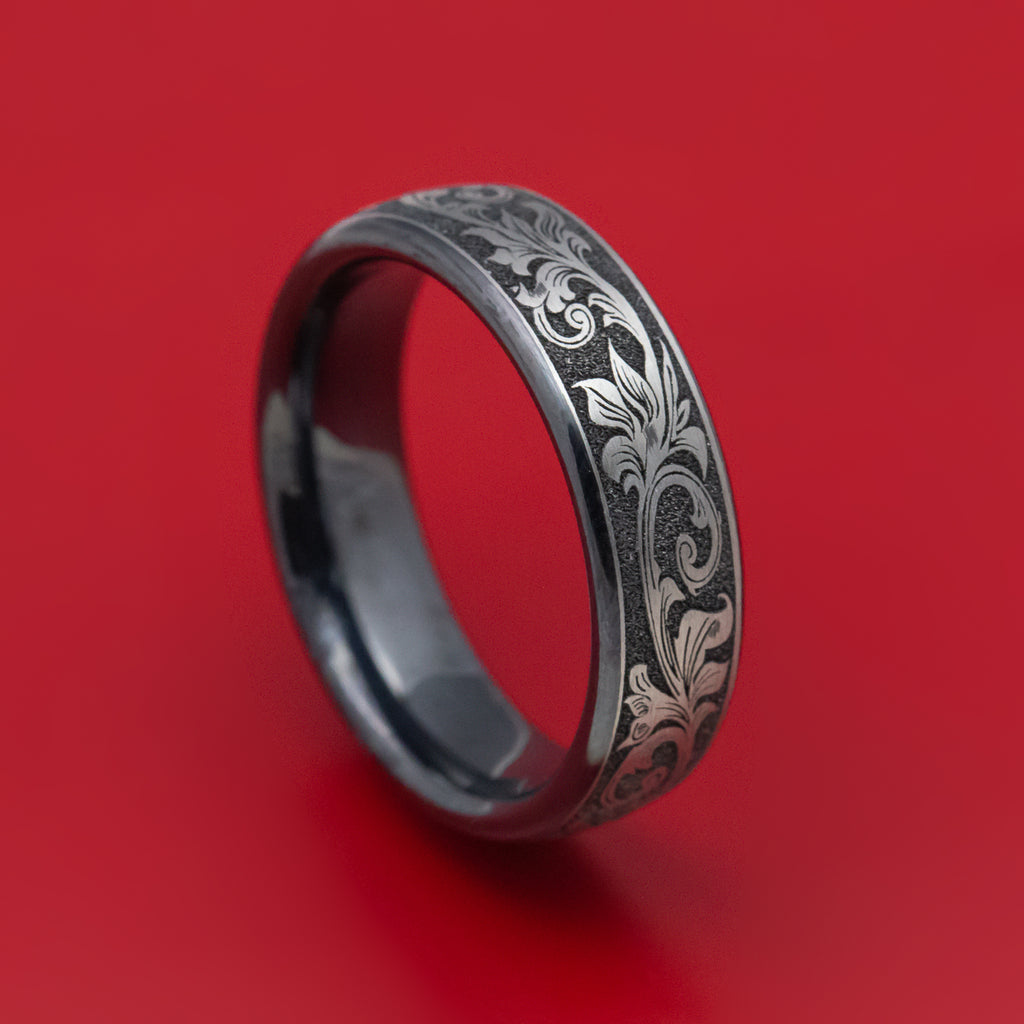 Black Titanium Vintage Floral Mens Ring