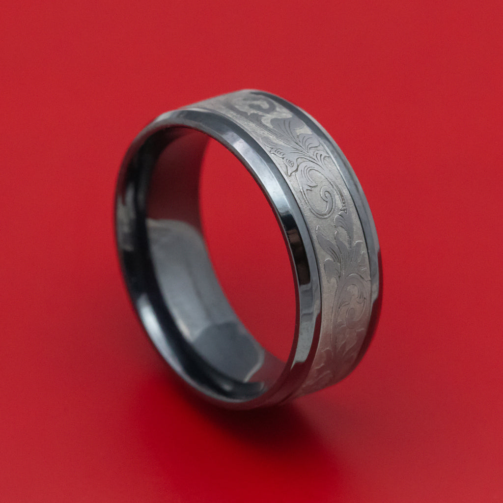 Black Titanium and Tantalum Mens Ring with Vintage Floral Design