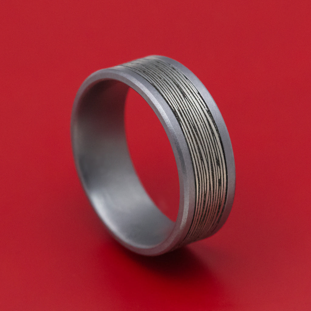 Tantalum and Black Titanium Tree Bark Mens Ring