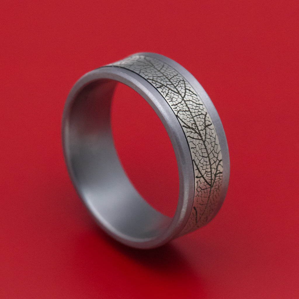Tantalum and Black Titanium Leaf Pattern Mens Ring