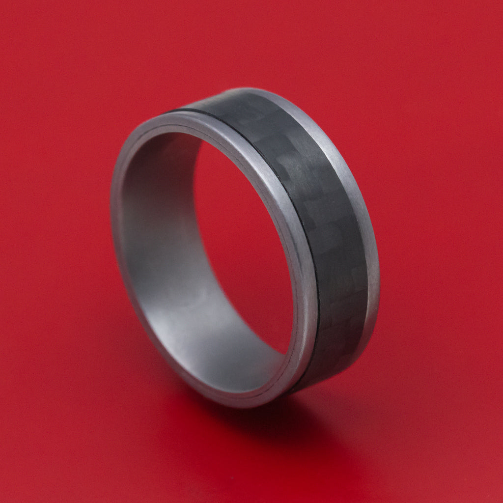Tantalum and Black Carbon Fiber Mens Ring