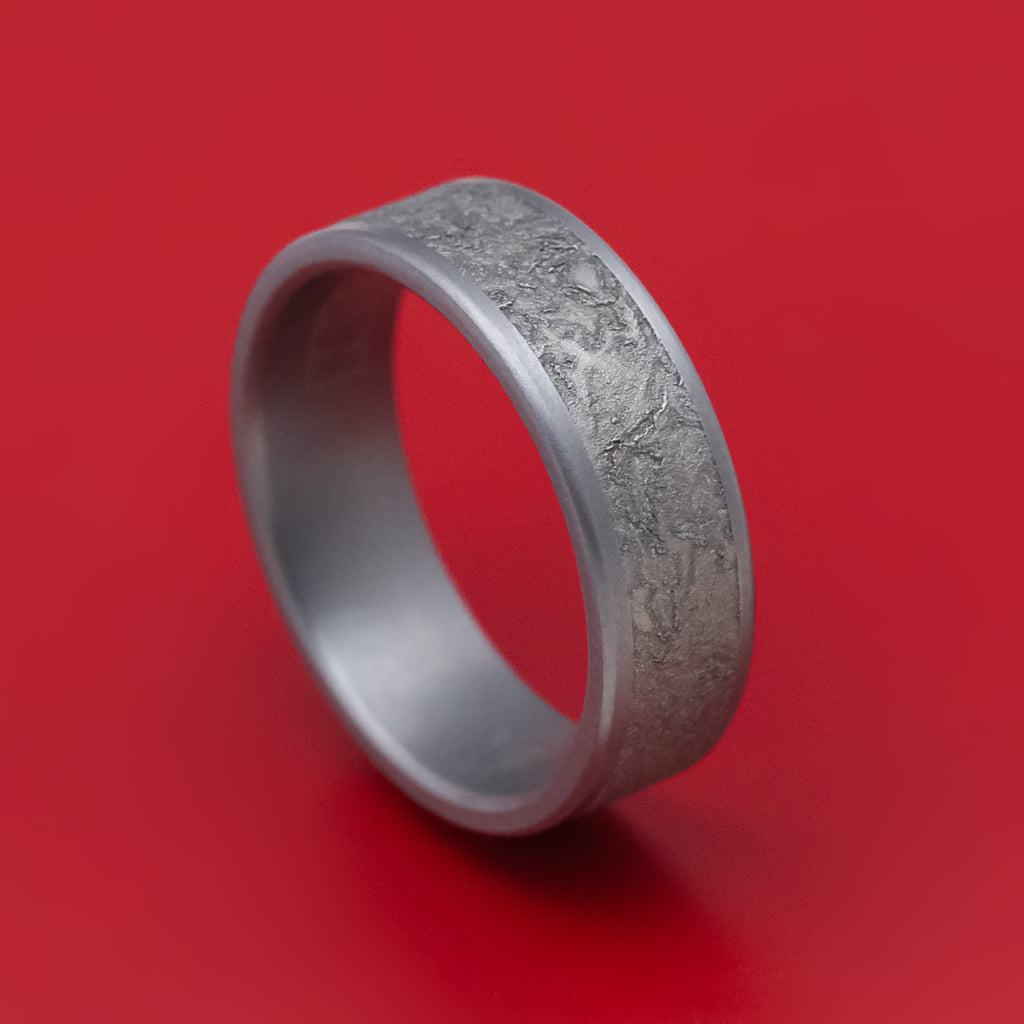 Tantalum Mens Ring with Splatter Finish Center