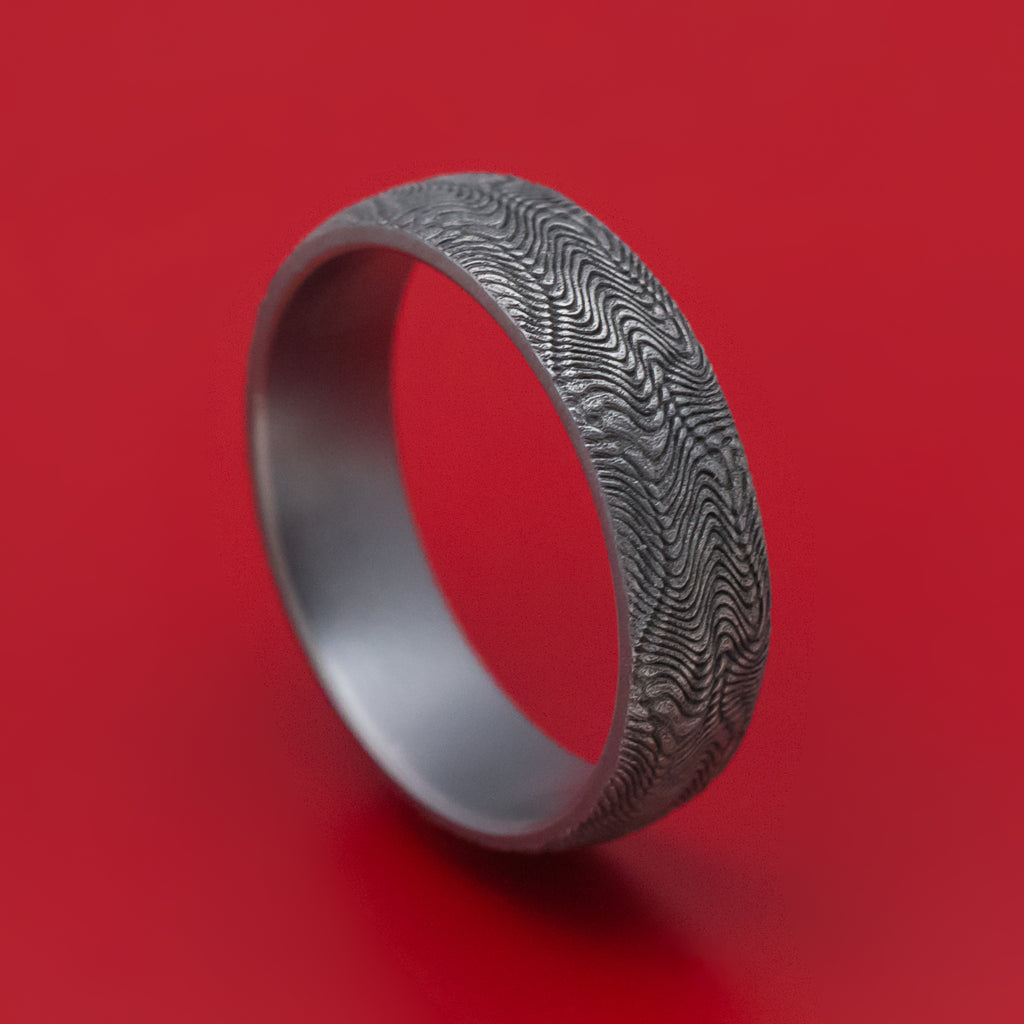Tantalum Mens Ring with Snake Skin Pattern
