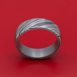Damascus Steel Mens Ring with Tantalum Sleeve