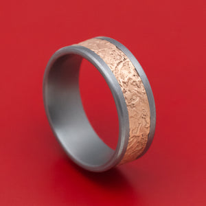 Tantalum and Splatter Textured 14K Rose Gold Mens Ring