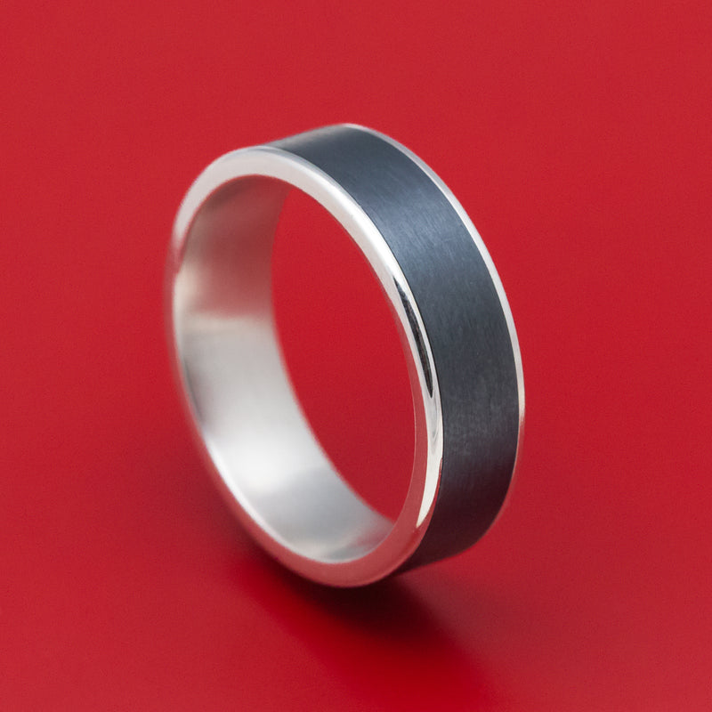 14K White Gold and Black Titanium Mens Ring