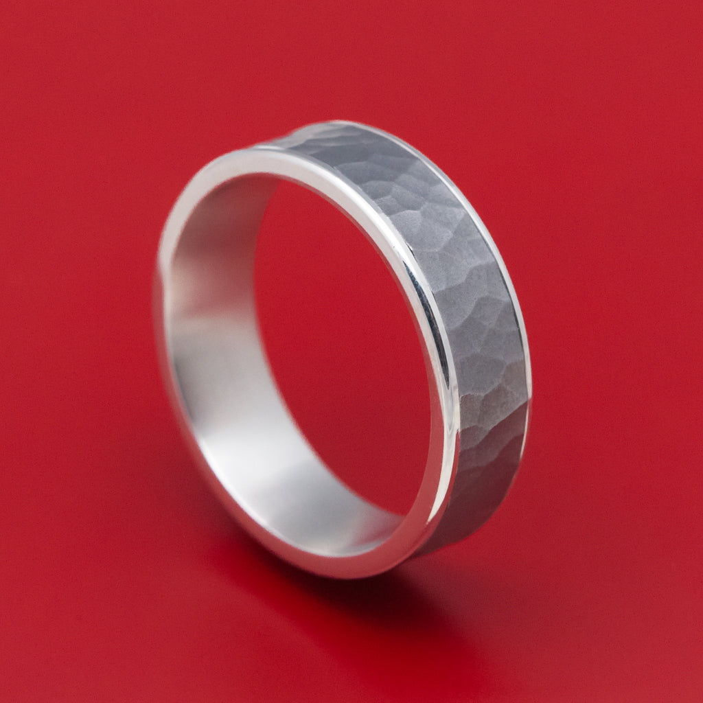 14K White Gold and Hammered Tantalum Mens Band
