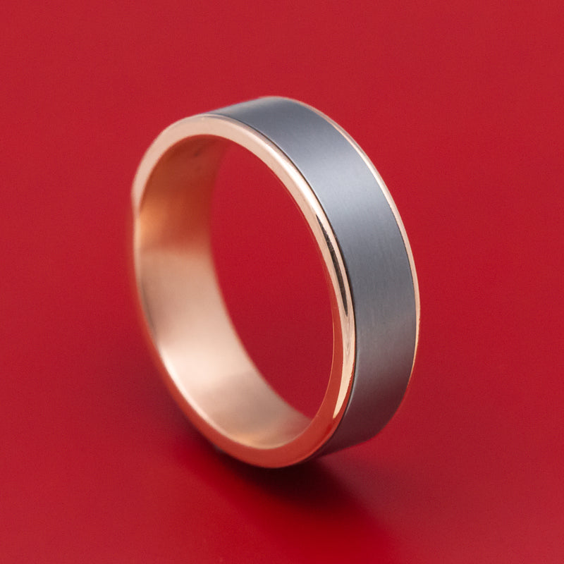 14K Rose Gold and Tantalum Mens Ring