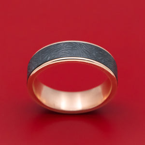 14K Rose Gold and Blackened Tantalum Marbled Pattern Mens Band