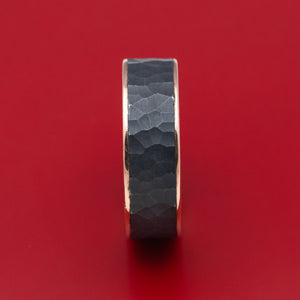 14K Rose Gold and Hammered Blackened Tantalum Mens Ring