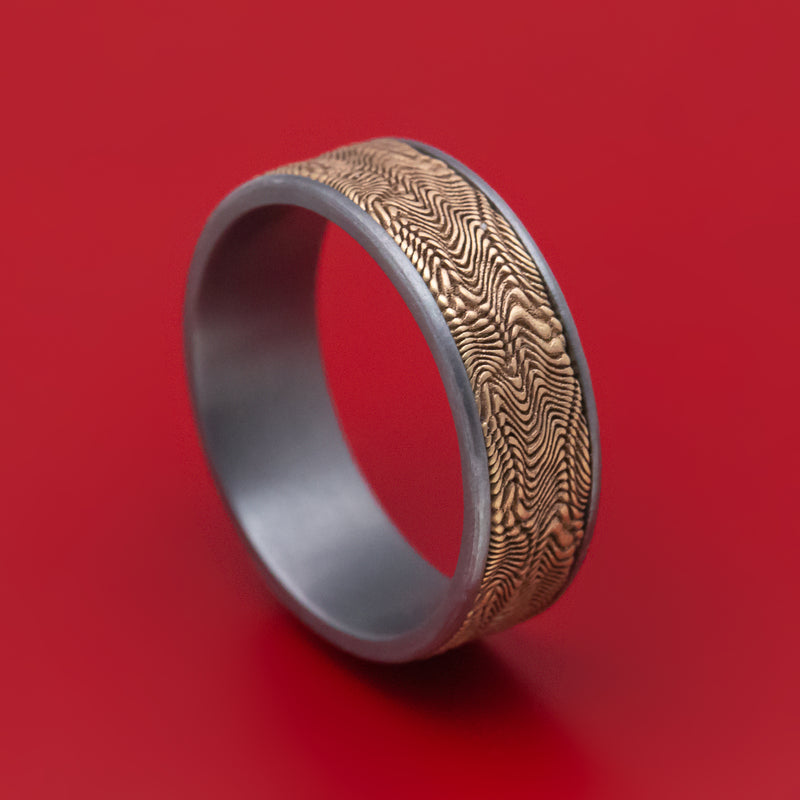 Tantalum and 14K Yellow Gold Snake Skin Mens Ring