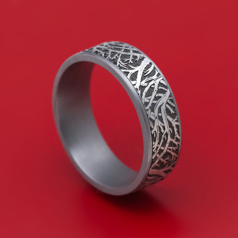 Tantalum Forest Trees Pattern Mens Ring