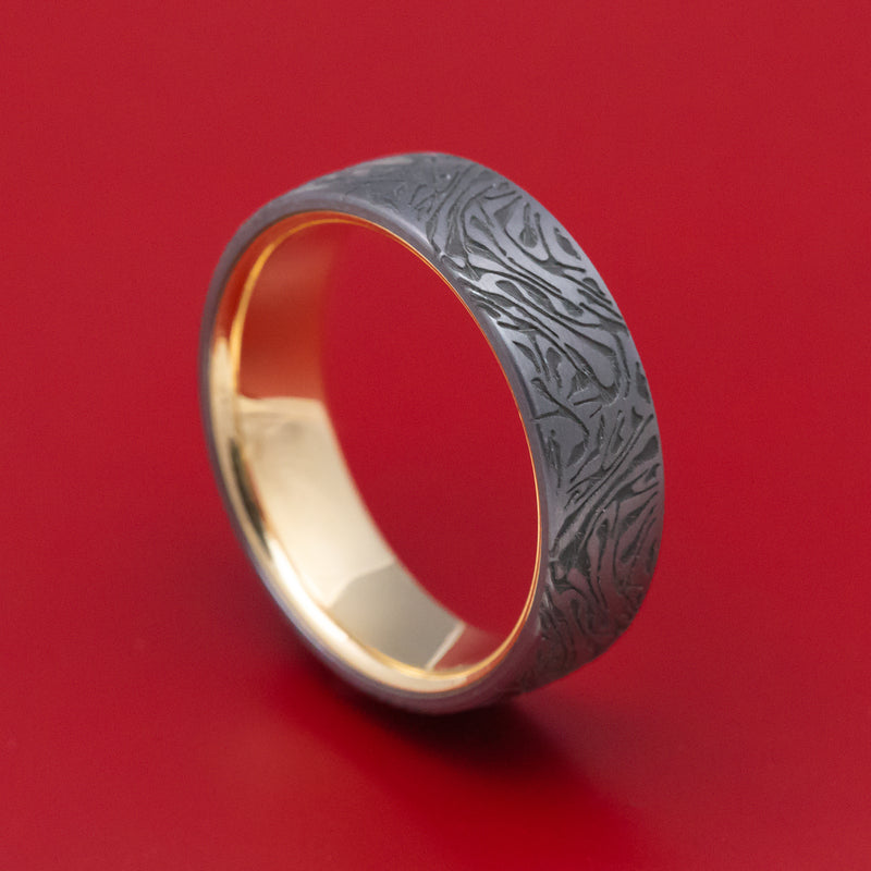 Marbled Pattern Tantalum with 14K Yellow Gold Sleeve Mens Band