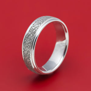 14K White Gold Hatched Classic Wedding Band
