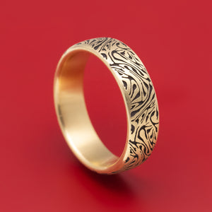 14K Yellow Gold Marbled Design Wedding Band