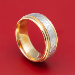 Two-tone 14K Yellow and White Gold Millgrain Wedding Band