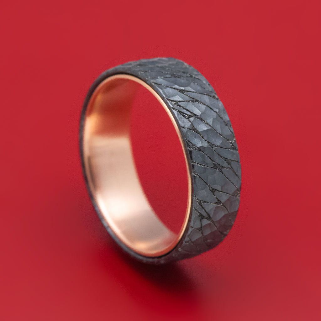 Textured Black Titanium And 14K Rose Gold Ring