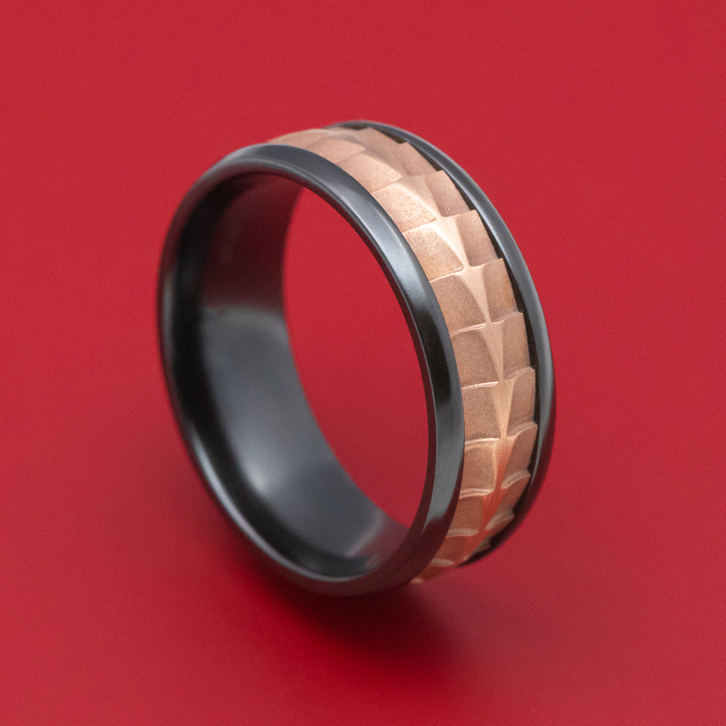Black Titanium And Textured 14K Rose Gold Ring