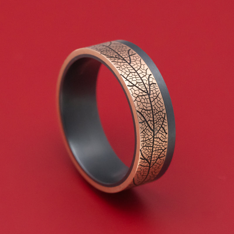 Blackened Tantalum and Leaf Design 14K Rose Gold Inlay Ring