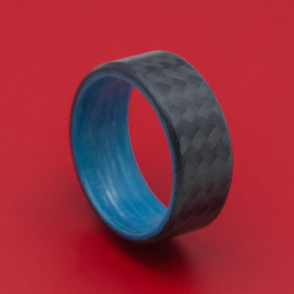 Carbon Fiber Ring with Blue Glow Sleeve