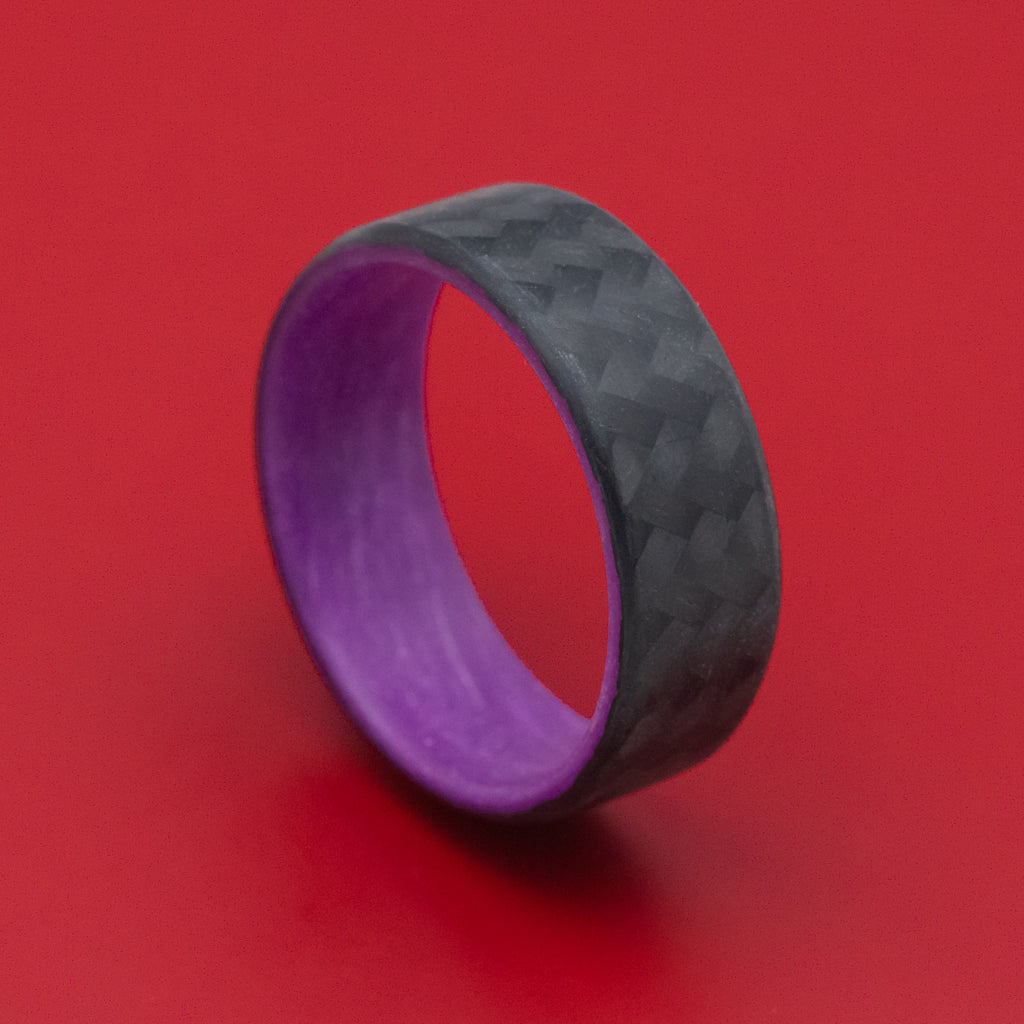 Carbon Fiber Ring with Purple Glow Sleeve