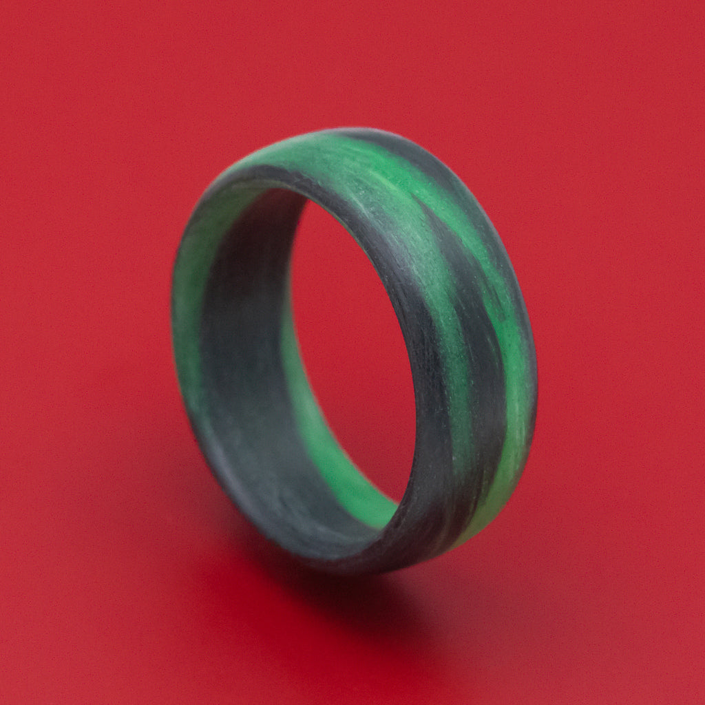 Carbon Fiber Ring with Green Glow Marbled Design