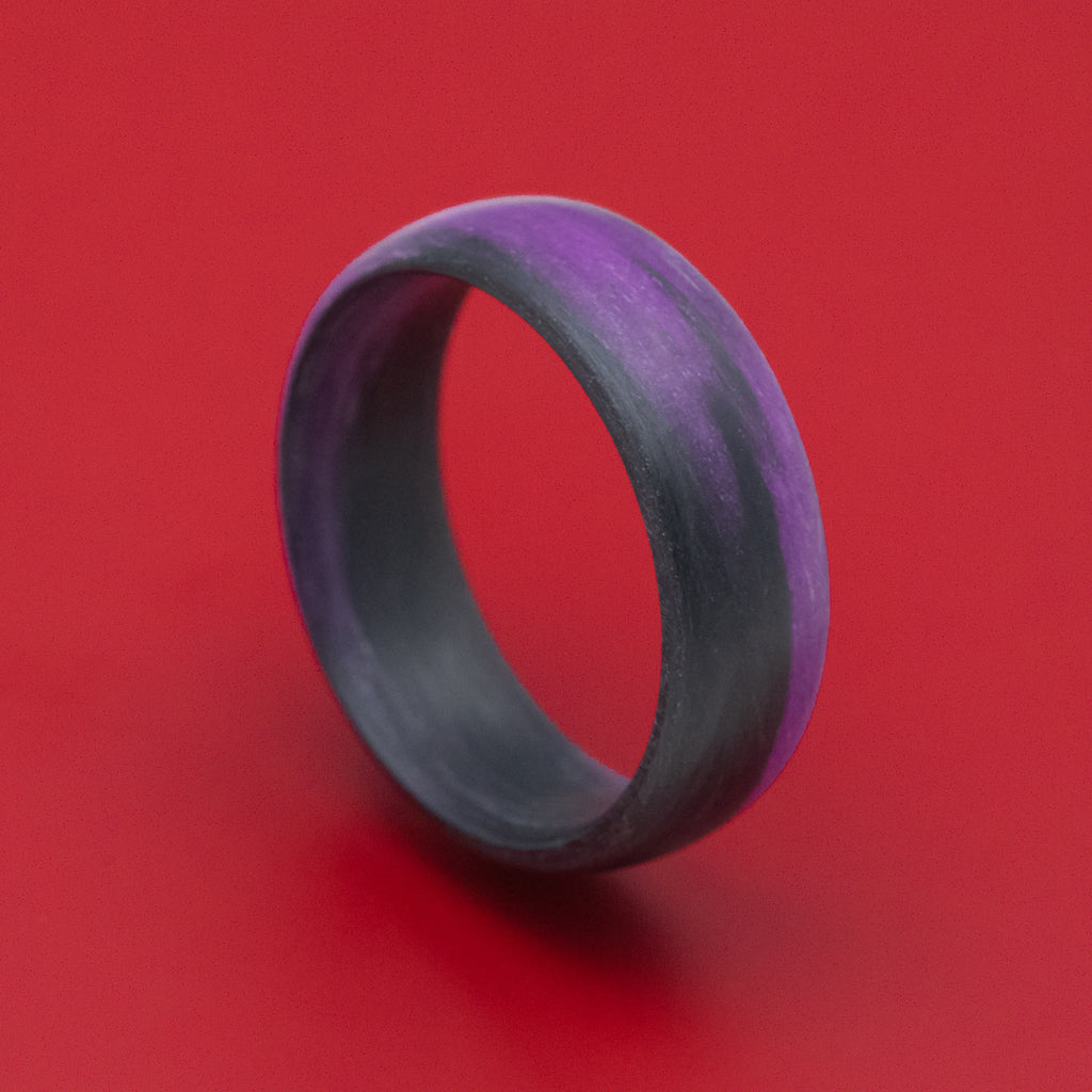 Carbon Fiber Ring with Purple Glow Marbled Design