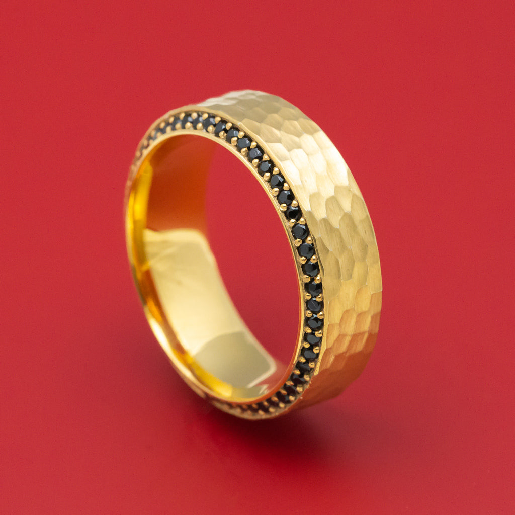 14K Yellow Gold and Eternity Black Diamond Ring