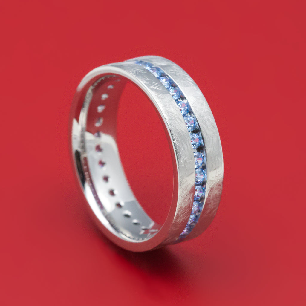 14K Gold and Denim Sapphire Eternity Ring Custom Made