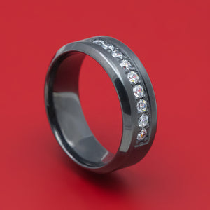 Black Zirconium and Diamond Ring Custom Made