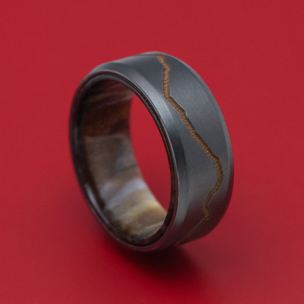 Black Zirconium and DiamondCast Sleeve Ring with Cerakote Mountain Design Custom Made