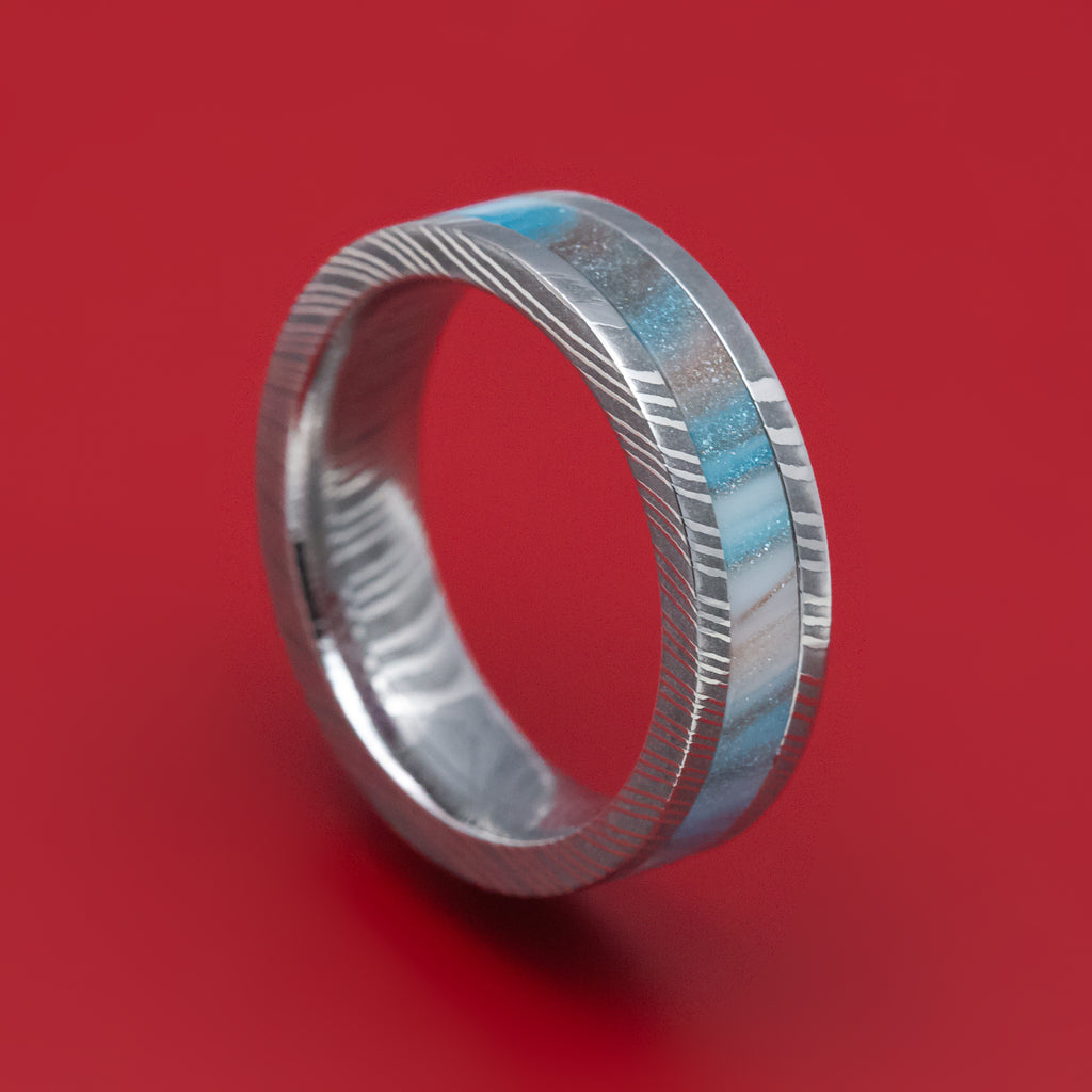 Damascus Steel and DiamondCast Inlay Ring Custom Made