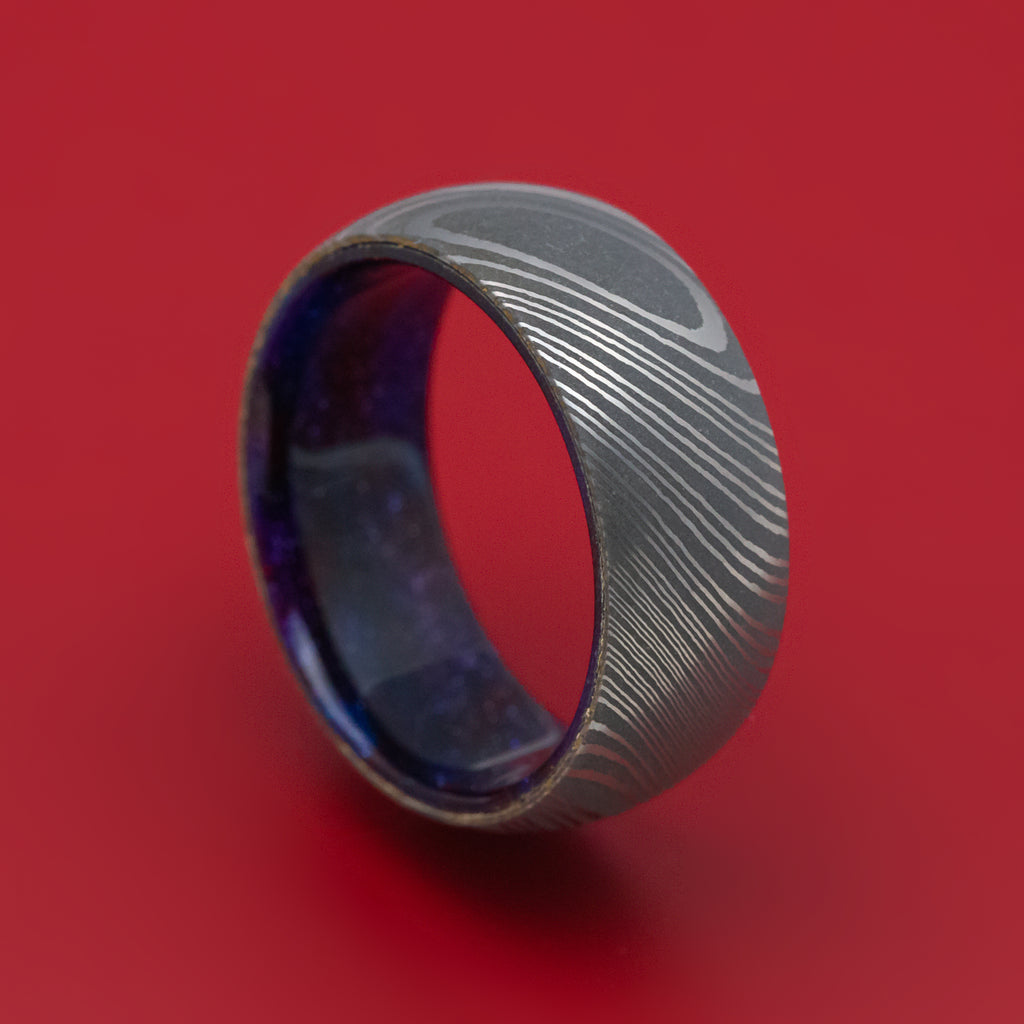 Damascus Steel and DiamondCast Sleeve Ring Custom Made