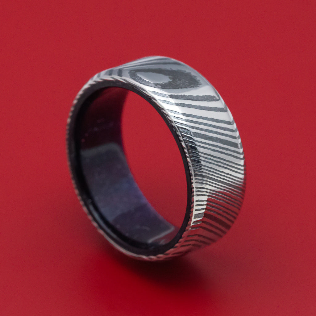 Kuro Damascus Steel and DiamondCast Sleeve Ring Custom Made