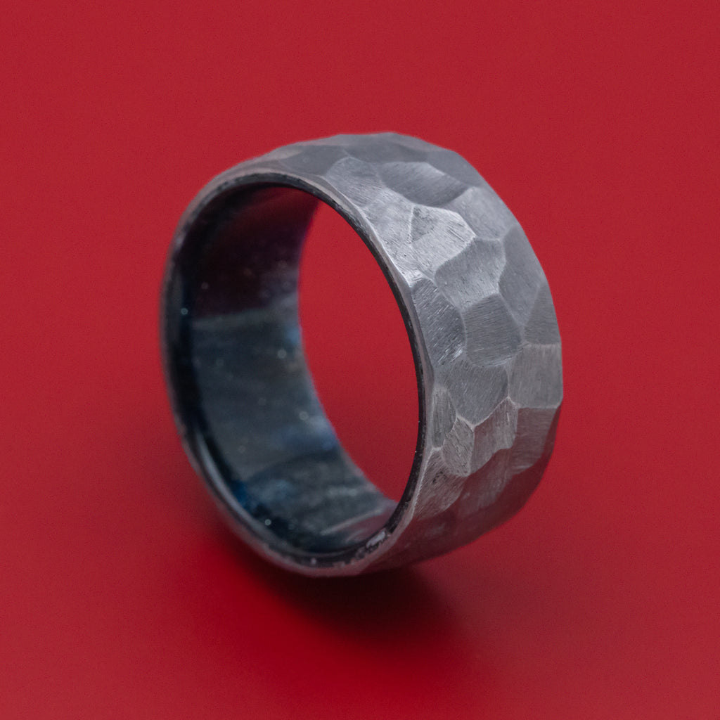 Tantalum and DiamondCast Sleeve Hammered Ring Custom Made