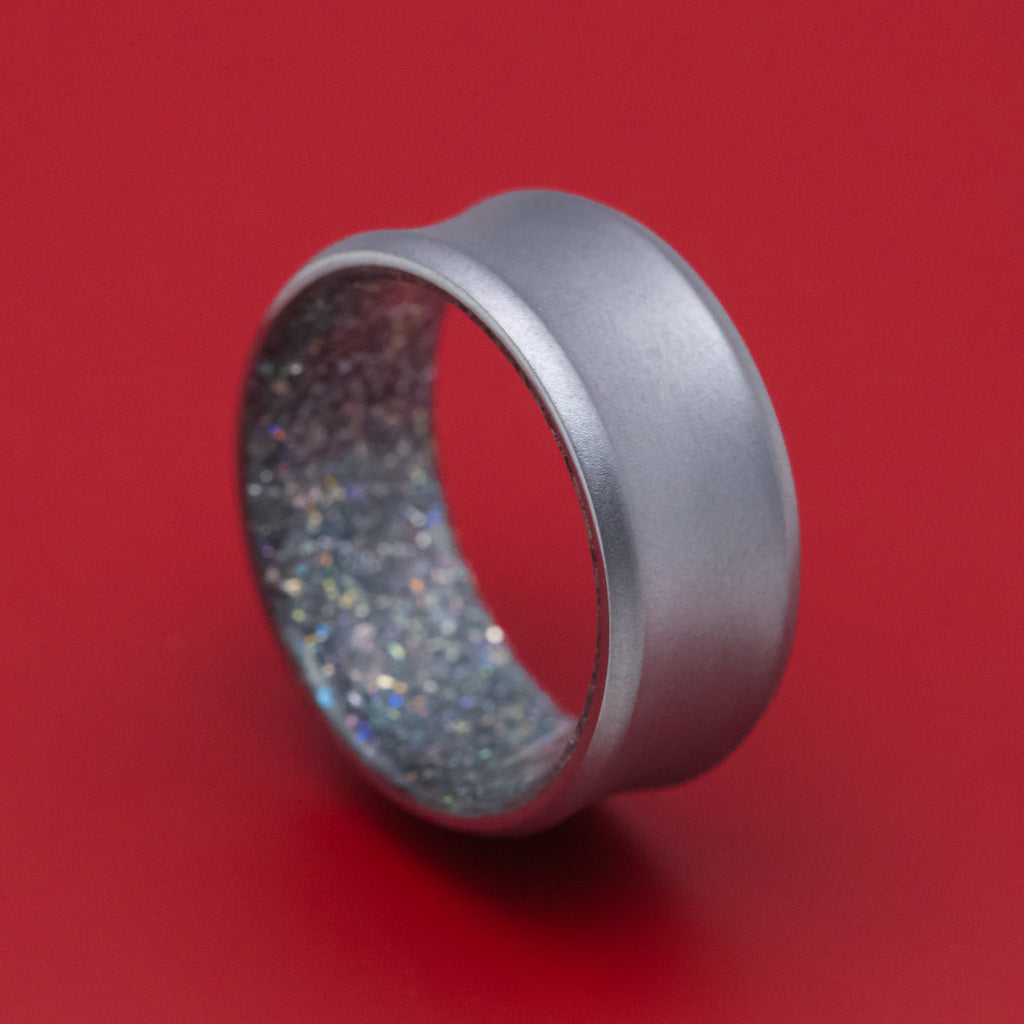 Tantalum and DiamondCast Sleeve Concave Ring Custom Made