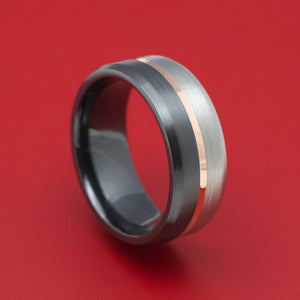 Two-Tone Black and Silver Zirconium with 14k Gold Inlay Custom Ring