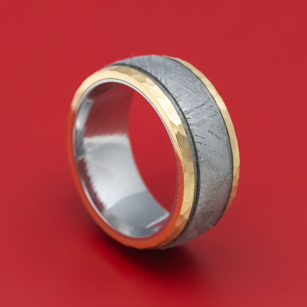 14K Gold and Gibeon Meteorite Ring with Damascus Steel Sleeve and Cerakote Grooves