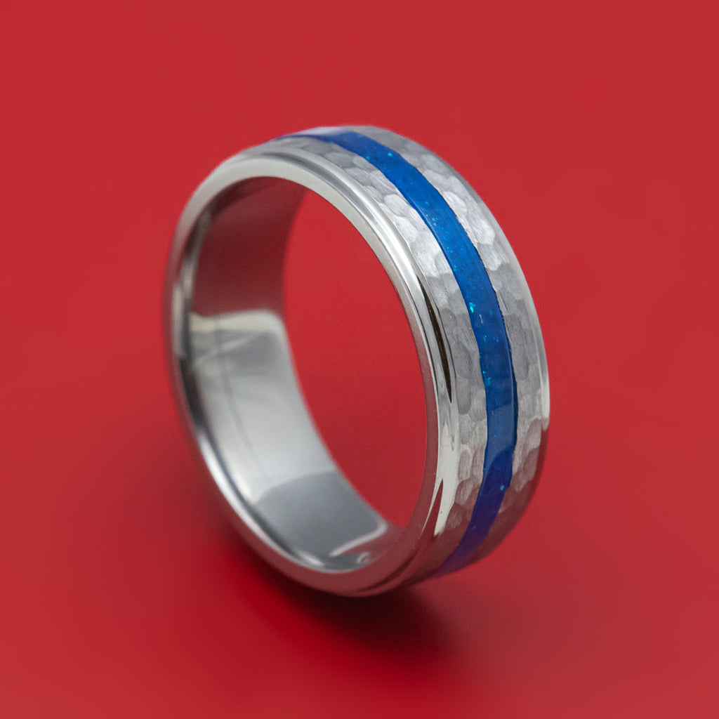Tantalum Ring with DiamondCast Inlay Custom Made Hammered Band