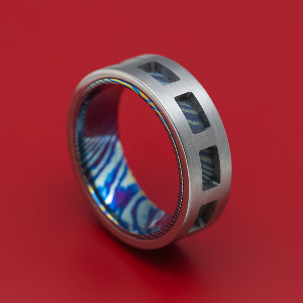 Titanium and Kuro-Ti Cut-Through Window Ring Custom Made