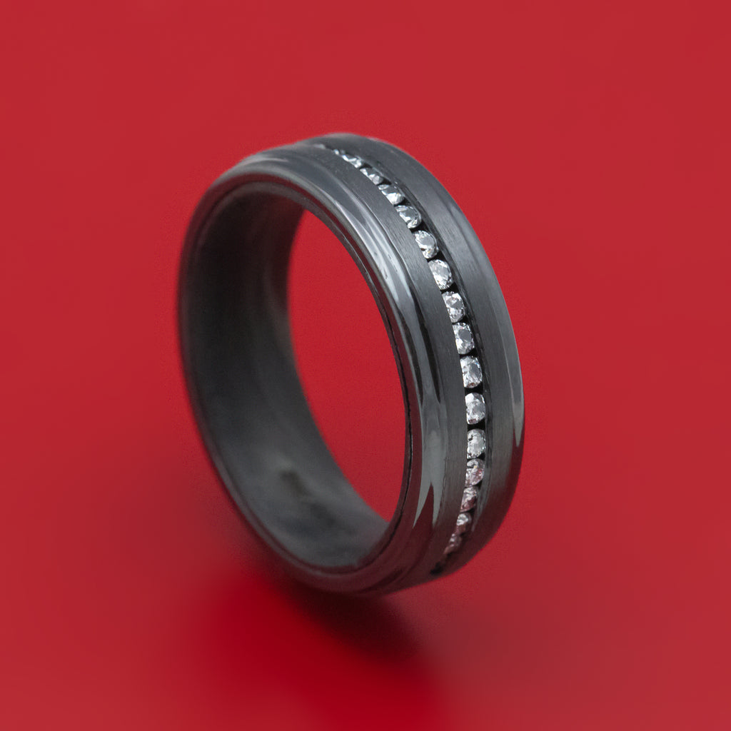 Black Zirconium and Diamond Ring with Forged Carbon Fiber Sleeve Custom Made