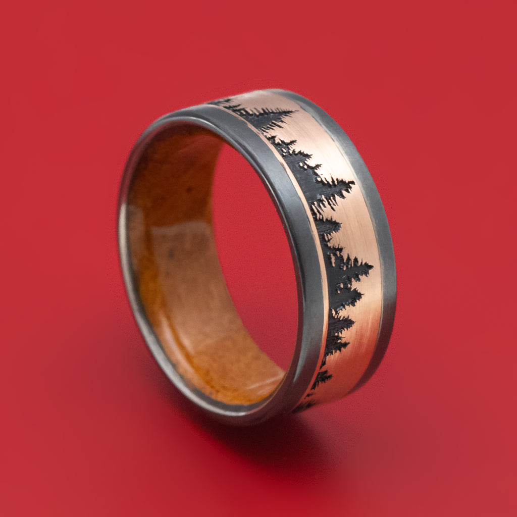 Black Zirconium and Gold Pine Tree Design Ring with Wood Sleeve