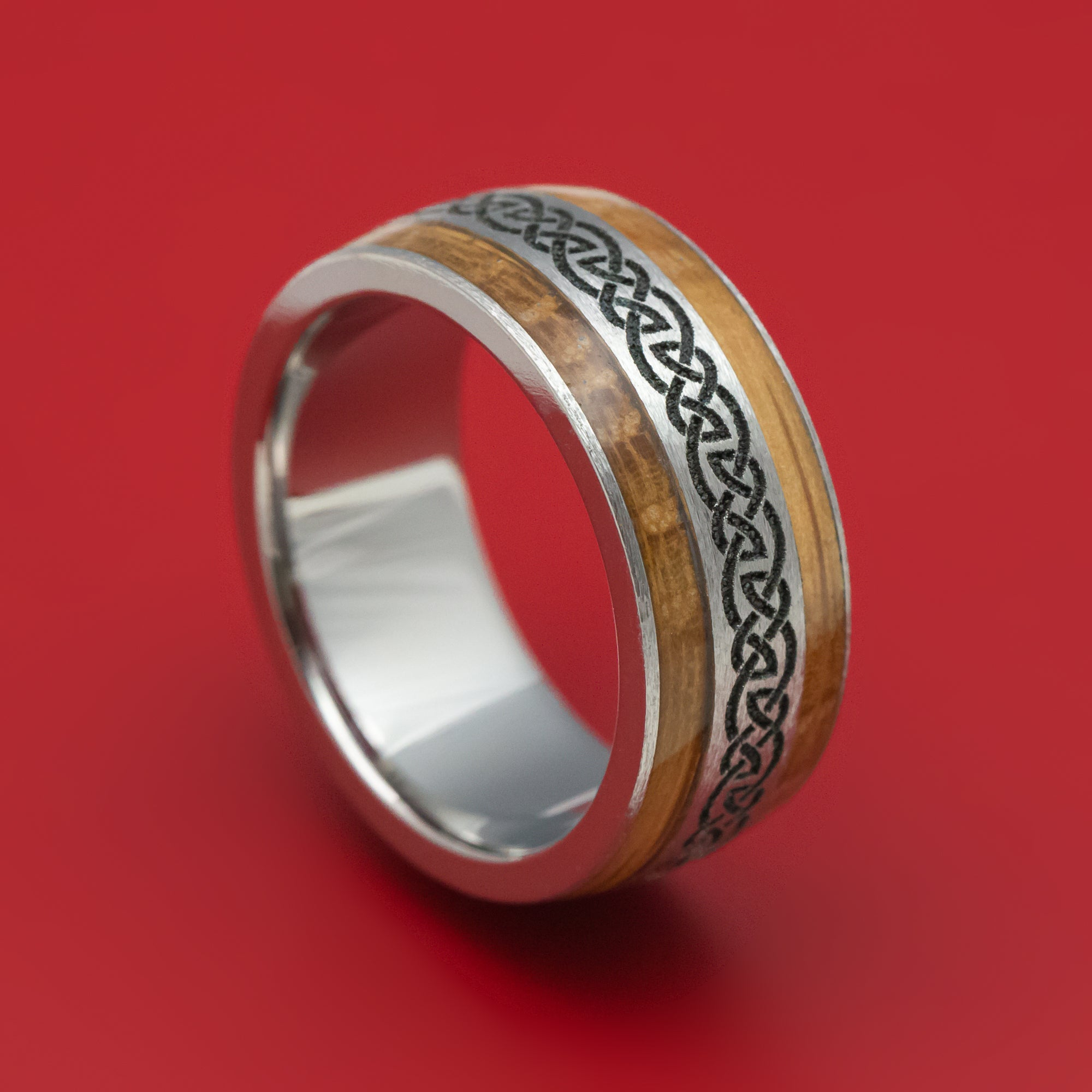 Whiskey Barrel wood and Copper Accents with Red GlowDino inlay Titanium core Custom Ring For Tess