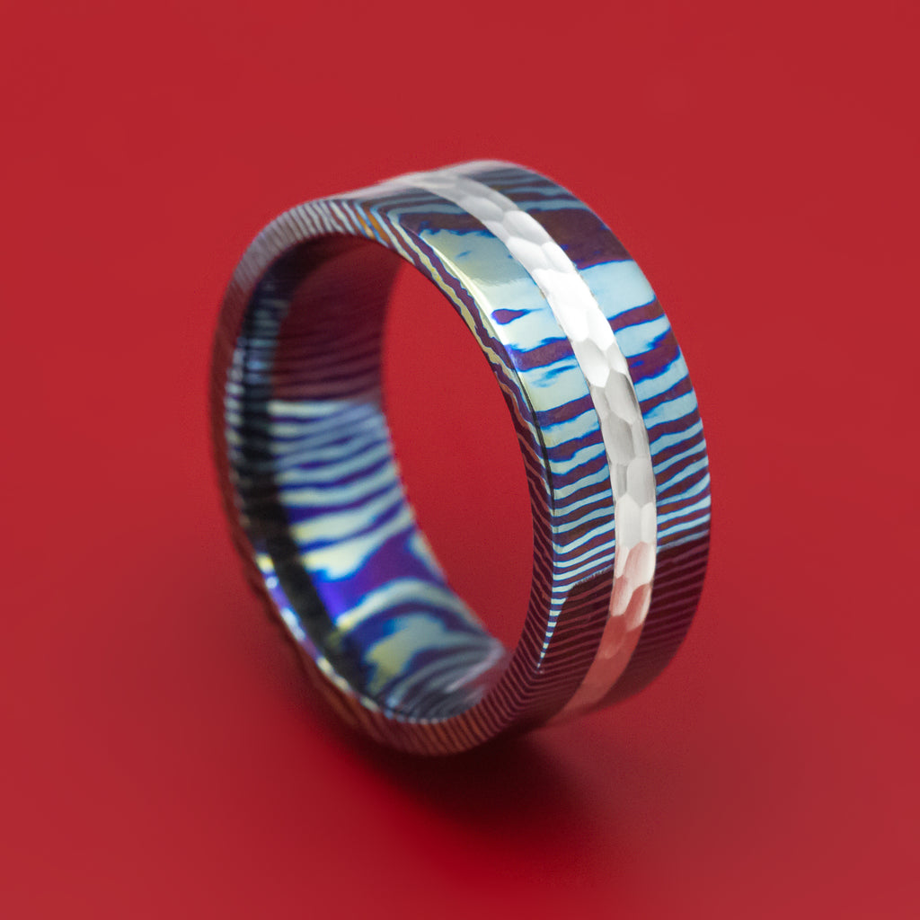 Kuro-Ti Twisted Titanium and Silver Heat-Treated Ring Custom Made Band